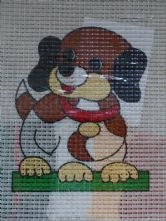 Puppy Dog Printed 6 Count Binca Cross Stitch Kit